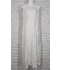 lee andersen easy tank dress sundress tissue crinkle knit ivory nwt xs s