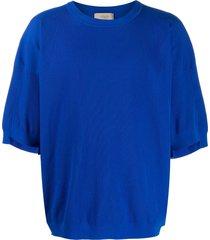 maison flaneur ribbed short sleeve sweatshirt - blue