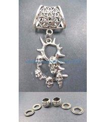 us seller-necklace charms death skulls pendant slider scarf ring