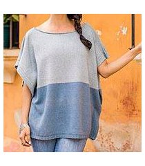 natural cotton and recycled denim poncho, 'sea and sky' (guatemala)