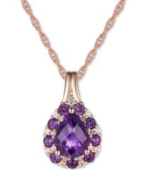 """amethyst (1-1/3 ct. t.w.) & diamond (1/10 ct. t.w.) 18"""" pendant necklace in 14k gold (also in blue topaz)"""