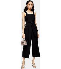 black wide leg tie waist jumpsuit - black
