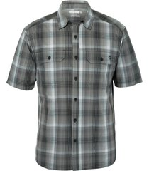 wolverine men's axel short sleeve shirt grey plaid, size xxl