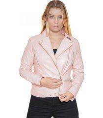 chaqueta ecocuero rosa todopiel