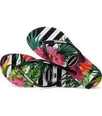 sandalias chanclas havaianas para mujer negro tropical floral
