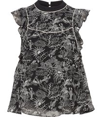 allover printed short sleeve ruffle top blus ärmlös svart scotch & soda