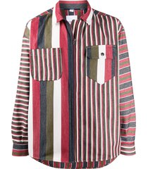 napa by martine rose striped zip-up shirt - red