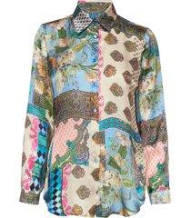 3370 - latia long blouse lange mouwen multi/patroon sand