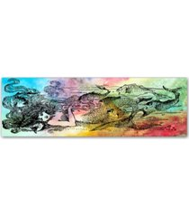 "jean plout 'mermaid under the sea 2' canvas art - 10"" x 32"" x 2"""