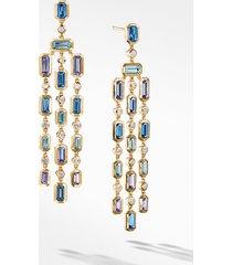 women's david yurman novella chandelier earrings in 18k yellow gold with hampton blue topaz, tanzanite and diamonds