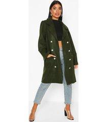 petite military wool look double breasted coat, khaki