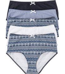 culotte a vita alta (pacco da 5) (blu) - bpc bonprix collection
