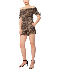 derek heart juniors' camo-print off-the-shoulder tie-sleeve romper