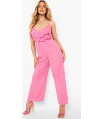 cullotte jumpsuit met ruches, pink