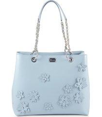 blumarine light blue flower tote bag w/chains