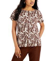 alfani printed boat-neck t-shirt, created for macy's