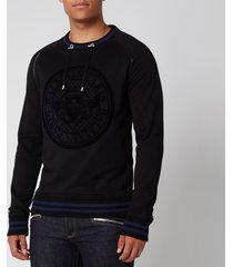 balmain men's coin 3d sweatshirt - black/blue - xl
