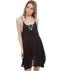 vestido roxy negro - calce holgado