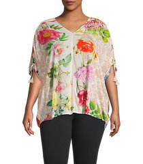 plus tassel-trim botanical-print blouse