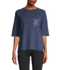 south parade women's raglan-sleeve cotton top - blue - size xs