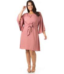 vestido crepe decote v e amarração plus size - confidencial extra
