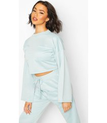 recycled sweat utility crop top, duck egg