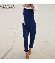 zanzea mujeres largo bib pantalones peto mono mameluco más el tamaño de traje de trabajo -azul