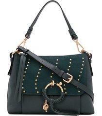 see by chloé bolsa tiracolo com detalhe de tachas - verde