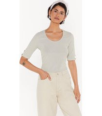 womens all eyes button me ribbed tee - sage