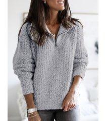 grey zip diseño classic suéter de manga larga con cuello