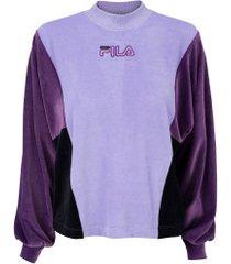 blusão fila plush block - feminino - roxo cla/roxo esc