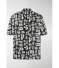palm angels logo-print short-sleeve bowling shirt