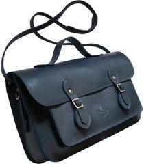 bolsa line store leather satchel média couro marinho