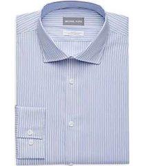 michael kors blue multi-stripe slim fit dress shirt