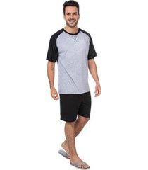 pijama masculino básico camiseta e bermuda - masculino
