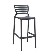 cadeira alta bar tramontina 92137007 sofia c/ encosto vazado grafite