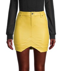 rta women's tempest leather mini tulip skirt - electric yellow - size 0