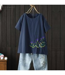 zanzea verano de las mujeres de manga corta bordado de la blusa causal tapas flojas camisas plus -azul marino