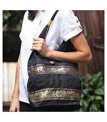 cotton shoulder bag, 'black elephant parade' (thailand)