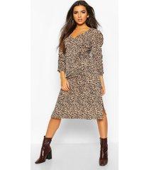 leopard rib ruched sleeve midi dress, camel