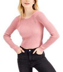 crave fame juniors' open-back rib-knit sweater