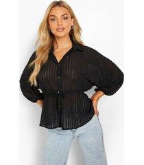 gestreepte doorschijnende blouse met ceintuur, black
