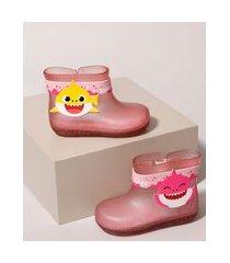 galocha infantil grendene baby shark com glitter rosa