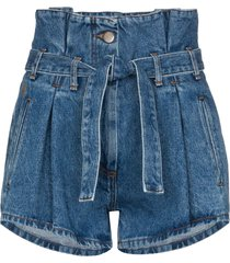 the attico high waist belted denim shorts - blue
