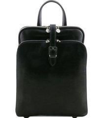 tuscany leather tl141239 taipei - zaino in pelle con tre scomparti nero