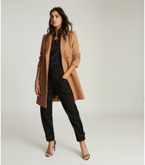 reiss evie - wool blend mid length overcoat in camel, womens, size 10