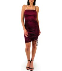 trixxi juniors' side-ruched satin bodycon dress