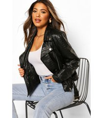 croc faux leather pu biker jacket, black