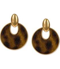 patricia nash gold-tone calf-hair leather doorknocker drop earrings
