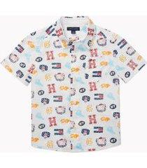 tommy hilfiger boy's adaptive signature motif short sleeve shirt classic white - xl